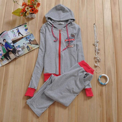 Korean Students Sport Suit Slim Type Embroidery Hat Couture Autumn Clima