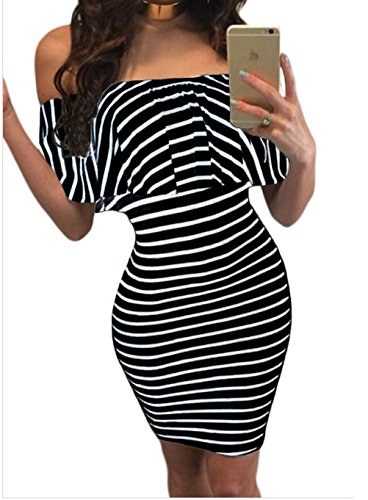 Christmas YFFaye Women's Black White Striped Off-shoulder Bodycon Dress S