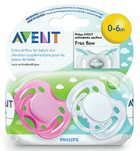 Avent Freeflow Silicone Pacifiers, 0-6 Months Girl Colors - 1