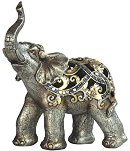 "Elephant Trunk Up Good Luck Hollow Copper Colored Poly Resin Figurine Statue W 7"" x H 7.5"""