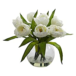 Nearly Natural Tulips Silk Flower with Glass Vase