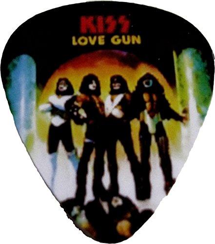"Unique and Custom "".76 MM Thick - Medium Gauge Hard Plastic - Round Tip"" Guitar Pick with Kiss Rock Band Love Gun Album Cover Art {Black, Orange and White Colors - Single Pick}"
