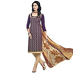 Look N Buy women's Latest Purple and Beige Coloured Embroidered Unstitched Glace Cotton Dress Material With Dupatta