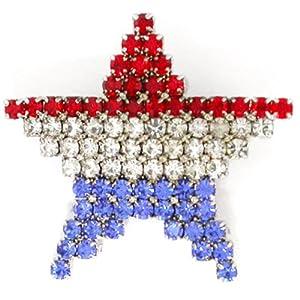 Rhinestone Patriotic American Flag Star Brooch Pin