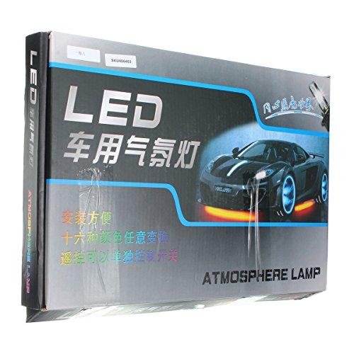 AUDEW 8 en 1 Moto/Voiture Ruban LED RGB 72-5050SMD Lampe Décoration Intérieur de Voiture 3 Mode d'Éclairage avec Télécommande Étanche IP67 Auto Atmosphère Pied Lights Bande Strip DC 12V