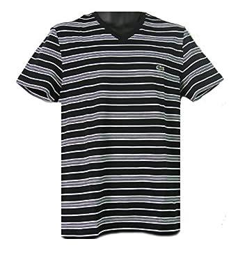Lacoste Men's V-Neck Striped T-Shirt, Black/White, Small