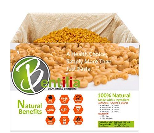 Bentilia Green Lentil Elbow 5 lbs Bulk Case - 1 Single Ingredient 100% Natural Non-GMO, Gluten Free Pasta (Green Lentil Pasta compare prices)
