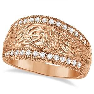 Hand-Engraved Filigree Diamond Right Hand Ring 14k Rose Gold (0.50ct)