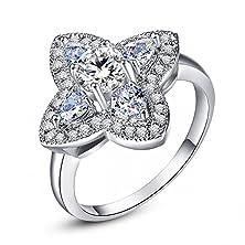buy Leobon Four Leaves Jewelry Gift Engagement Rings For Women White Topaz Cz Diamond 18K White Gold Plated Fashion Ring