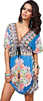 Andyshi Women's Bohemia Sexy Summer Hot Deep V-neck Loose Beachwear Cover up