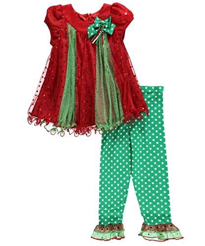 Bonnie Jean Little Girls' Spangle Mesh Trapeze Legging Set, Green, 4T