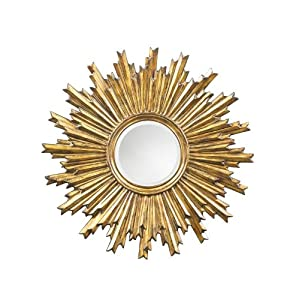 Wall Mirror Decor Sunburst Design In Antique