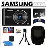 51zHaEVU1pL. SL160  Samsung ST76 16MP Digital Camera with 5x Optical Zoom and 2.7 inch LCD in Black + 4GB Micro SDHC + Camera Case + Accessory Kit