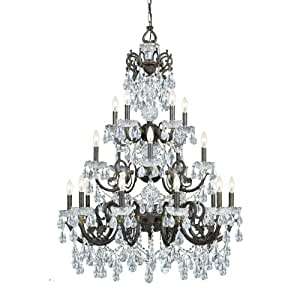 Crystorama Lighting 5190-EB-CL-S Chandelier with Swarovski Element Crystals, English Bronze