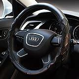 autoinbox ハンドルカバー 自動車用品 おしゃれ カー アクセサリー 革 Mサイズ (38CM) (グレー) (ブラック (ブラック)