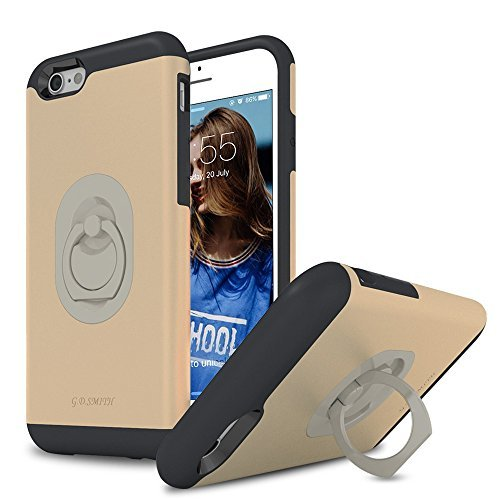 iPhone 6s Kickstand Case, Bptecase Rotating Smart Grip Holder iPhone 6 Ring Case [Drop Protection] Dual Layer Hard Back Cover [Anti-Scratch] Soft Shockproof Bumper for iPhone 6/6s 4.7 Inch, Gold (Dual Protection compare prices)