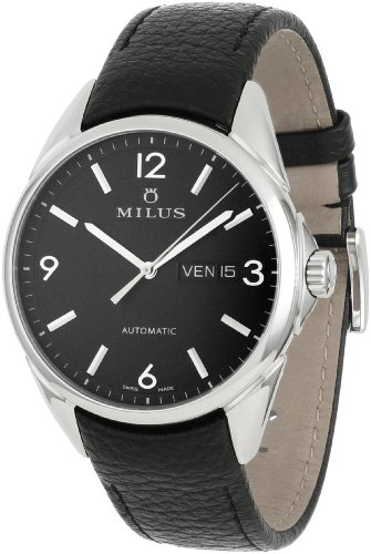Milus Men's TIRC001 Stainless Steel with Black Dial Watch