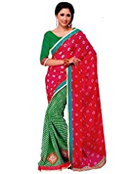 Abida Faux Georgette Fuchsia And Green Color Saree