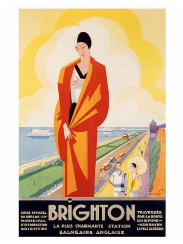 Brighton Art Deco Travel Poster Print - 40 x 30 cms (Approx 16 x 12 Inches)