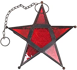 Hanging Star Votive Candle Holder Lantern, 10in x 10in x 3in (Red)