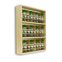 Solid Pine Spice Rack 3 Tiers Holds Up To 24 Jars
