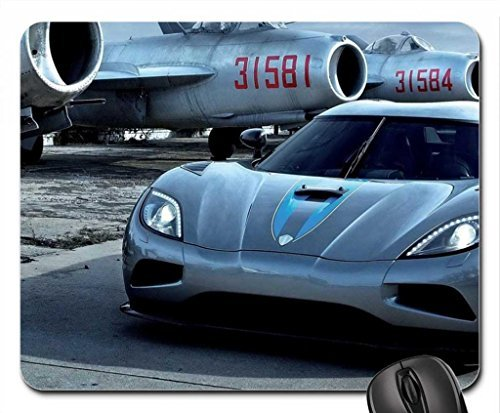 koenigsegg-at-an-airport-of-old-mig-planes-mouse-pad-mousepad
