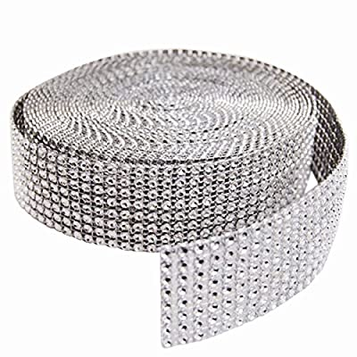 "Duafire Silver Diamond Mesh Wrap Roll Rhinestone Crystal Ribbon 1.5"" X 10 Yards, Wedding Ribbon,Party Supplies"