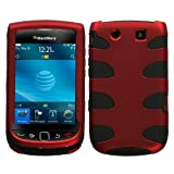 MyBat BlackBerry Torch 9800 Fishbone Phone Protector Cover - Titanium Red/B ....