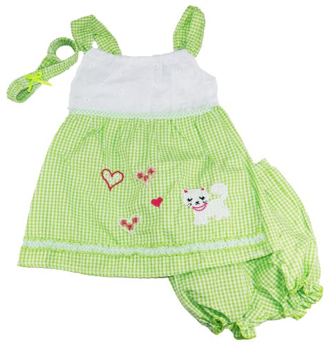 Coney Island Baby Girls Lime Summer Little Kitty Sleeveless Dress Set front-735770