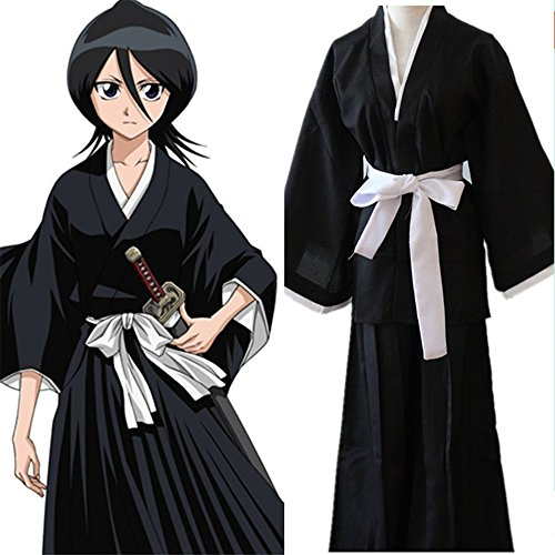 Anime Bleach Kuchiki Rukia Soul Reaper Uniform Cosplay Halloween Costume