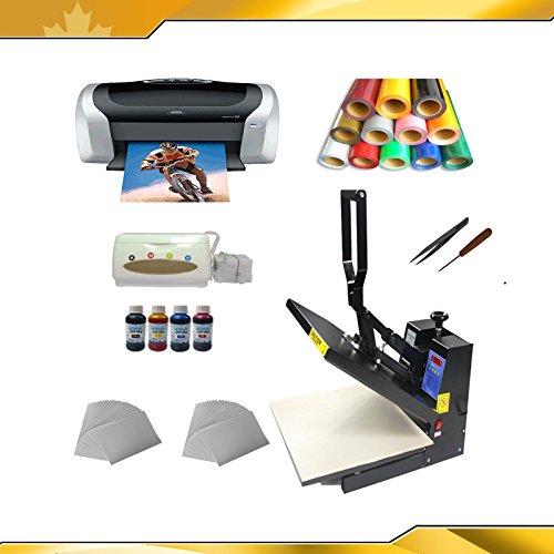 Heat Press Machine +Transfer Paper +Transfer Pu Vinyl +Printer + Business Kit
