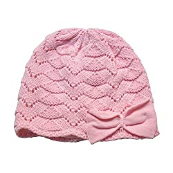 Home Prefer Baby Girls Soft Christmas Hat Cotton Crochet Knit Cap Cute Bowknot Beanie Hat Pink L