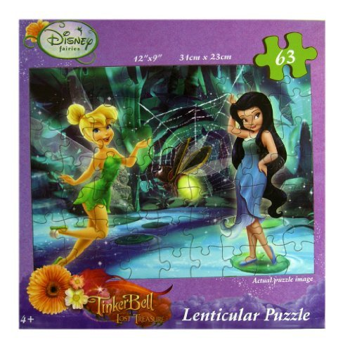 Tinker Bell Puzzle Set - Disney Tinkerbell Fairies Lenticular Puzzle Set (63 Pieces) - 1