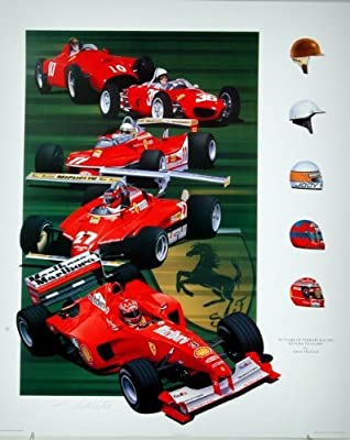 Fifty Years of Ferrari- Formula One Racing Print Autographed By Phil Hill