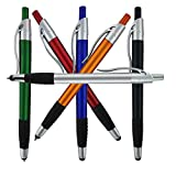 Stylus Pens for Touch Screens & Tablets: Lightweight Click Capacitive Ballpoint Pen for Tablet Touchscreens - Compatible with any Device Screen Including iPhone, iPad, Samsung Galaxy & More - 6 Pack (Color: Assorted Colored Barrel/Silver Trim, Tamaño: 6 Pack S)