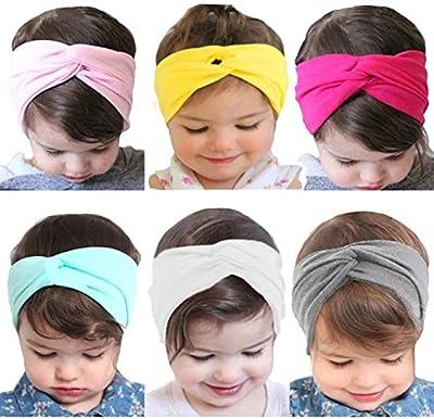 Onshine 6 pcs Baby Girls Headbands Cross Knotted Headwrap Soft Hair Elastics Turban