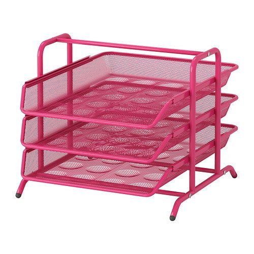 Ikea Dokument File Desk Organizer Pink Trays Steel front-64127