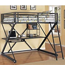 Hot Sale Powell Z-Bedroom Full Size Loft Study Bunk Bed