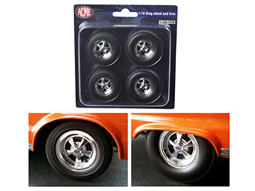 Hemi Bullet Cragar Drag Wheels and Tires Set of 4 Chrome 1/18 by ACME (Hemi Bullet compare prices)