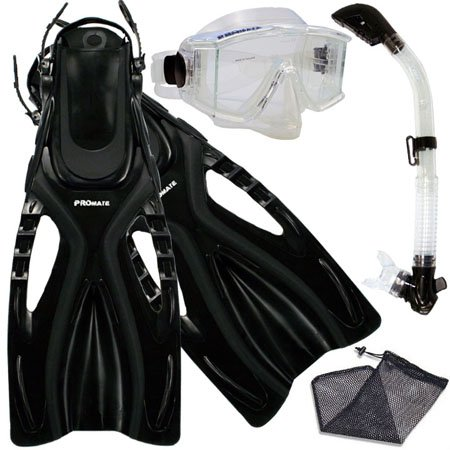 PROMATE Snorkeling Scuba Dive SIDE-VIEWED PURGE Mask Fins Dry Snorkel Gear Set, ClrWBk, MLXL