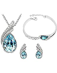 Sterling Fashion Jewellery Ocean Blue Austrian Crystal Necklace Set With Crystal Earrings And Charming Crystal...
