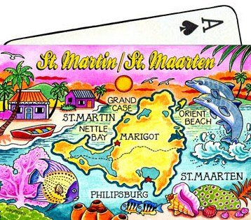 St.Martin/ St. Maarten Map Collectible Souvenir Playing Cards