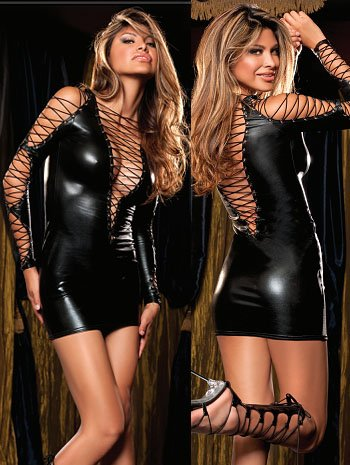 Tamari String Faux Leather Sexy Babydoll Lingerie