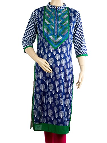 Mee Mee Maternity Cotton Kurti with Feeding Zipper (Blue_XL)