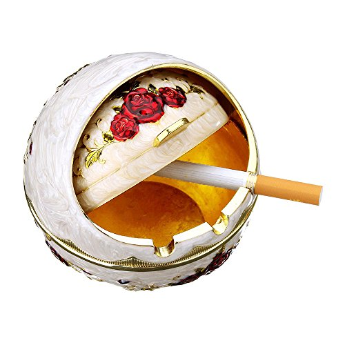 Vintage Alloy Ashtray - Home/Office/Car European Engraved Embossed Cigarette Cigar Smoke Holder Ash Tray 0