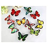 12 PCS Creative Flashing Colorful Butterfly Night Light Stickers Light Indoor lighting Decorations Random (15PCS)