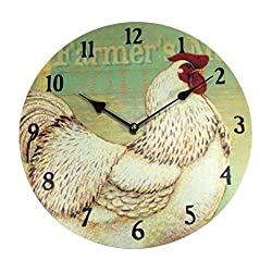 White Rooster Farmers Wall Clock | Rustic Farm House Theme | 13