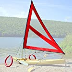 Serenity Upwind Kayak Sail and Canoe Sail System (Red). Complete with Telescoping Mast, Boom, Outriggers, Lee Boards, All Rigging Included! Compact, Portable, Easy to Set up - Start Sailing This season!