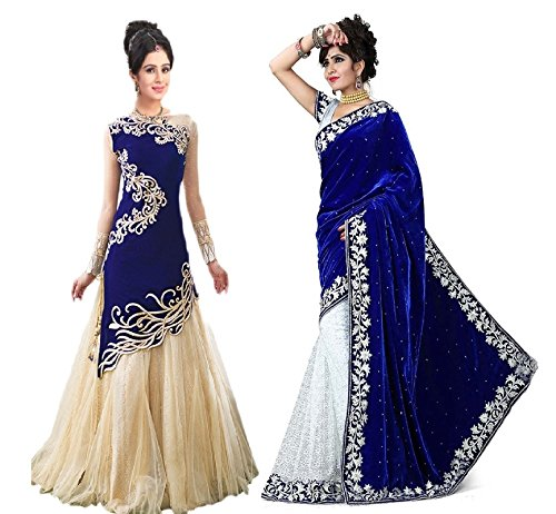 White World Women\'s Velvet | Georgette Saree Combo (zoya+b.v.s_Blue | Blue_Free Size)