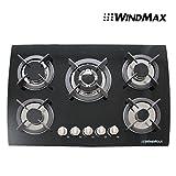 """30"""" Tempered Glass Built-in Kitchen 5 Burner Oven Gas Cooktops Black"""